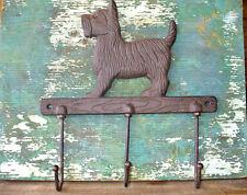 Cast Iron Animal Brown Scottie Dog Bath Towel Leash Hook Rack Home Pet Decor