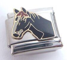 BLACK HORSE Italian Charm I Love My Pony Rider 9mm fits Classic Starter Bracelet