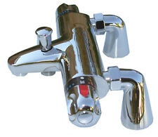 THERMOSTATIC BATH SHOWER MIXER VALVE TAP TAPS, DECK MOUNTED CHROME 1/4 TURN 057D