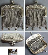 Bourse aumonière sac cote de maille argent massif Art Nouveau  1900 silver bag