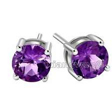 Classic Small Purple 5mm Zircon Four Claws Silver 925 Stud Earring- 574