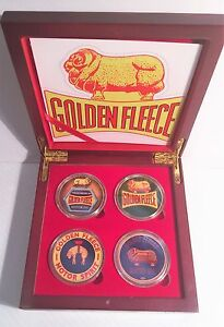"""""""Golden Fleece""""  Boxed Set of 4 Col/Printed 999 24k Gold plated coins petrol,oil"""