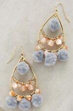 NEW Anthropologie Pommed Drops Chandelier Earrings Pink/Gray/Gold