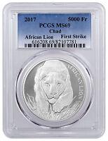 2017 Republic of Chad 5000 Francs 1 oz Silver African Lion PCGS MS69 FS SKU43314