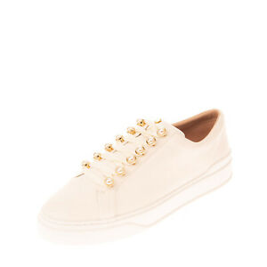 RRP €360 STUART WEITZMAN Leather Low Top Sneakers EU 39.5 UK 6.5 US 9 Faux Pearl