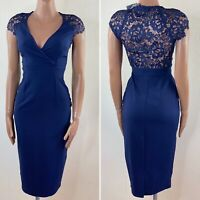 LITTLE MISTRESS Blue Lace Back V Neck Wiggle Pencil Midi Dress UK 6