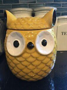 "Owl Jar 8"" Yellow with Lid Creative Co-Op Farmington Stoneware"