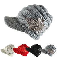 HN- Fashion Women Woolen Yarn Plain Weave Knitting Sequins Flower Visor Hat Tren