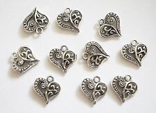 10 Filegree Ornate Heart Charms - 14mm - Metal Antique Silver