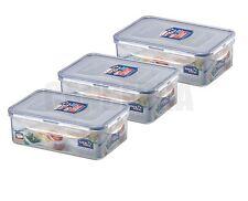 3 x LOCK & LOCK PLASTIC FOOD STORAGE LUNCH BOX CONTAINER 1L HPL817