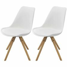 vidaXL Dining Chairs 2 Pcs White Faux Leather