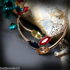 Necklace Multi Crystal Gold tone Statement Gem Peridot, champagne sapphire Blue