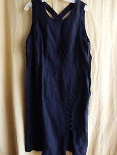 Adrian Jordan Little Black Dress Sleeveless Size 14 Sexy Buttons Cross Straps