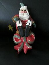 """Rare 8"""" Large 1993 House of Hatten Enchanted Forest Shelf Sitter Table Top Santa"""