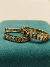 10K Yellow Gold Round Baguette Diamond Hoop Earrings 3.7 grams Signed ZEI