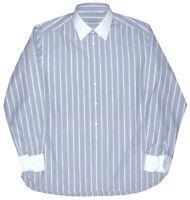STEFANO RICCI LT BLUE TONES STRIPE HANDMADE DRESS SHIRT CONTRAST COLLAR 44 17.5