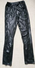 Ladies black wet look pvc leggings with lace detail size 8-10 S/M