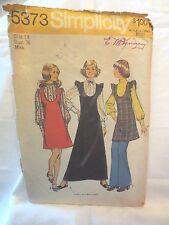 "Simplicity 5373 Vintage 1972 Jumper dress with blouse sz 14 Bust 36"""