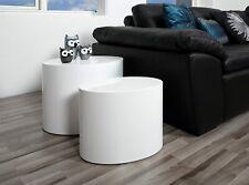 Modern Coffee Table Side End Set White High Gloss Elegant Design Wood 2 Tables