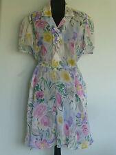 Original Vintage 80s Floral Dress UK 12/14 Summer Beach Holiday Union Made USA