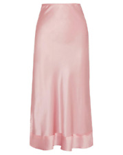 LEE MATHEWS Womens Pink 3/4 Length Midi Silk Satin Slip Skirt NEW Size 2