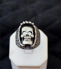 Biker ring, shrouded SKULL , STERLING SILVER