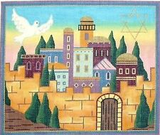 DOVE STAR JERUSALEM TALLIS BAG HANDPAINTED NEEDLEPOINT CANVAS JULIA'S ON SALE