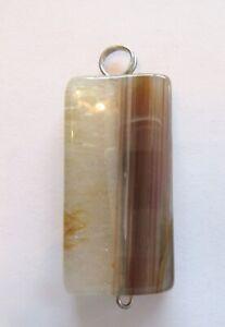 Agate Pendant- rectangular- light yellow browns - polished finish
