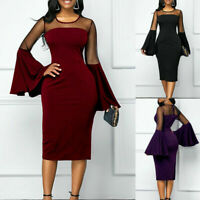 Women Bell Sleeve Evening Dresses Ladies Mesh Midi Bodycon Dresses Party Holiday