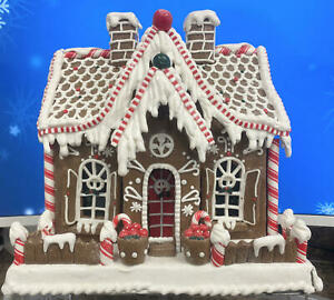 "RAZ Imports Lighted Gingerbread House w/ Candy & Decorations, 11""~DISCOUNTED"