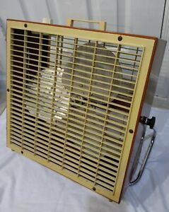 "Vintage LAKEWOOD 16"" Steel Box Fan Burnt Orange With Chrome Tilt Stand NICE"