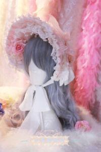 Sweet Lolita Women Pink Rose Bonnet KC Headband Headdress Hair Accessories Party