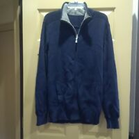 Mens Gap zip front cardigan sweater L Navy Blue NWOT Cotton pockets heavy wt