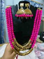 Details about  /Indian Ethnic Beaded style pendant shape necklace with Matching earrings
