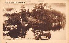 B27/ Patchogue Long Island New York NY Postcard c1910 Scene on Lake Boat Home