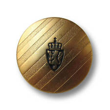 5 matt goldfb. gestreifte Metall Knöpfe mit Wappen, Löwe & Krone (5515gm-23mm)
