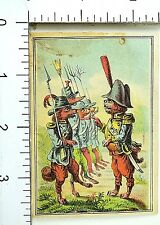 Anthropomorphic Dogs Military Uniforms Rifles Swords Victorian Trade Card F69