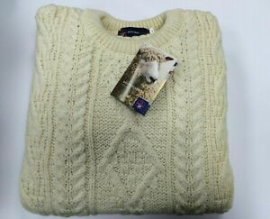 Mens 100% British Wool Cream Arran Jumper Brand New With Tags