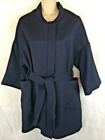 H & M Short Sleeve Blue Jacket Size 4 Belted Zipper Thigh Length New With Tags