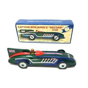 "Vintage Tin Captain Benjamin's ""Record"" Land Speed Toy Car  Schylling MIB W/ COA"