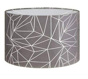 "Geometric Geo Silver & Grey Dual Purpose Lampshade Lightshade Shade 11"""
