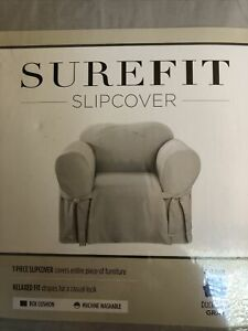 "Surefit Slipcover Duck Cotton Solid Gray Relaxed Fit 1 Piece Fits Chair 32""-43"""