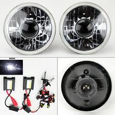 "7"" Round 6000K HID Xenon H4 Clear Projector Glass Headlight Conversion Pair Plym"