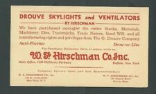 1940 Ny W F Hirschman Co Inc Drouve Skylights & Ventilators Purchased All-