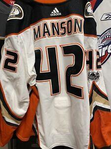 2017-18 JOSH MANSON Game Worn Used Jersey ANAHEIM DUCKS PHOTOMATCHED SIGNED