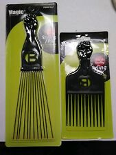 2 Pro Grade Magic High Quality Hair Afro Picks Styling Metal Pik Lg & Sm