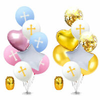 Cross Latex Balloon Set Aluminium Foil Easter Baptism Holy Communion Party Decor