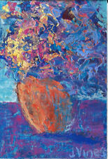 Original Abstract Acrylic Knife Flowers Painting ACEO 2.5x3.5inch small ART card