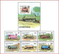 SAH9902 Locomotives 6 stamps and block