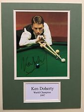 """Snooker Ken Doherty Signed 16"""" X 12"""" Double Mounted Display"""